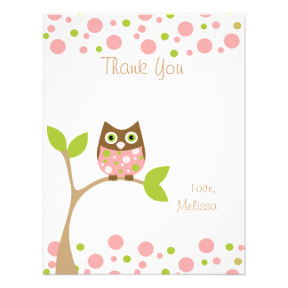 Pink Baby Owl Announcement