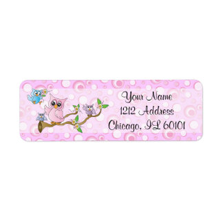 Pink Baby Owl | Shower Theme Return Address Label