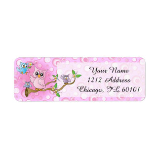 Pink Baby Owl   Shower Theme Return Address Label