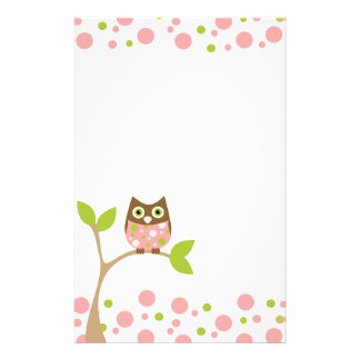 Pink Baby Owl Stationery Paper
