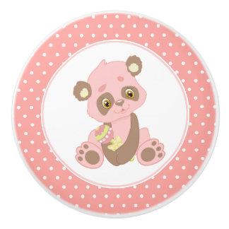Pink Baby Panda Bear Polka Dot Ceramic Knob
