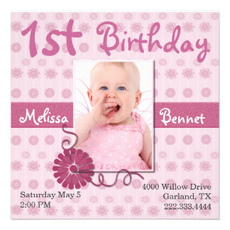 Pink Baby s First Birthday Photo Invitation