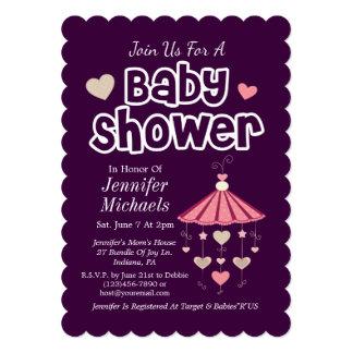 Pink Baby Shower 13 Cm X 18 Cm Invitation Card