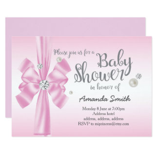 Pink baby shower, elegant demand bow invitation