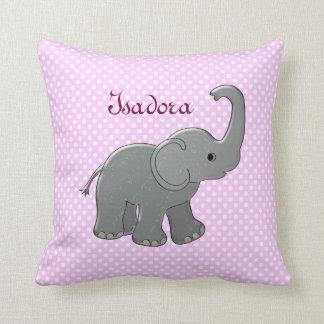 pink baby shower elephant throw cushion