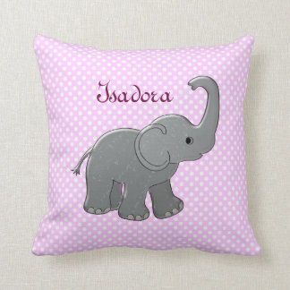 pink baby shower elephant throw pillow
