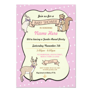Pink Baby Shower Girl Deer Polka Dot Invitation