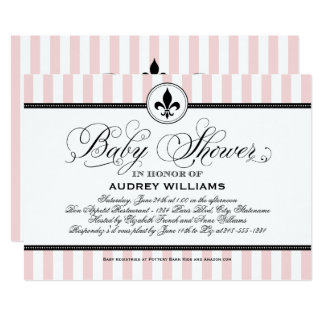 Pink Baby Shower Invitation | French Stripes