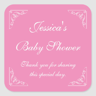 Pink baby shower party favor stickers | Square