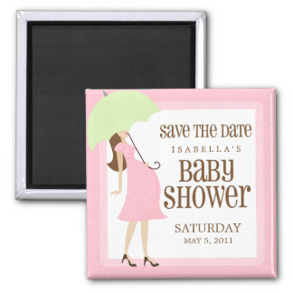 Pink Baby Shower Save The Date Magnet
