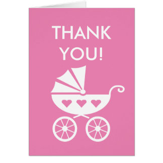 Pink baby shower thank you card with carriage pram
