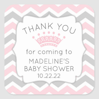 Pink baby shower thank you favor sticker