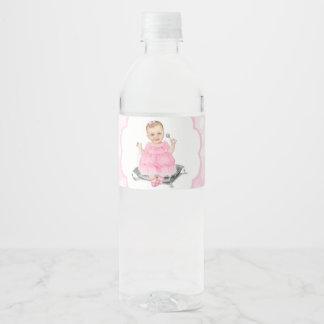 Pink Baby Shower Water Bottle Labels Blush Bokeh