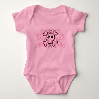 Pink Baby Skull and Cross Bones Baby Bodysuit