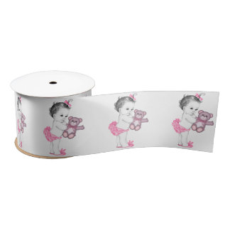 Pink Baby Teddy Bear Baby Girl Shower Satin Ribbon
