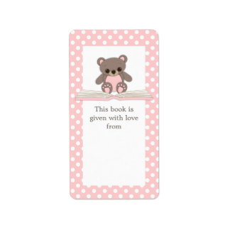 Pink Baby Teddy Bear on Book Gift Bookplate Label