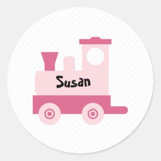Pink Baby Toy Train Round Sticker
