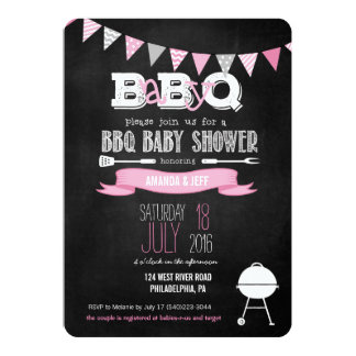 Pink BabyQ BBQ Baby Shower Invitation