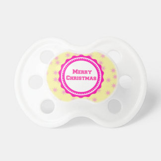 Pink Baby's First Merry Christmas  Pacifier
