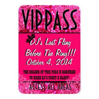Pink Bachelorette Party VIP PASS 9 Cm X 13 Cm Invitation Card