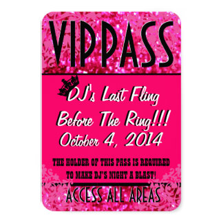 Pink Bachelorette Party VIP PASS Personalized Invitations
