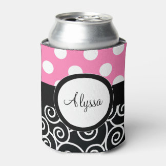 Pink Back Dots Swirl Personalized Can Cooler