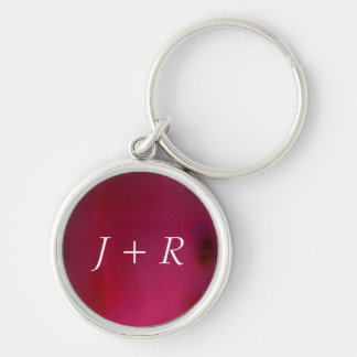 Pink Background Silver-Colored Round Key Ring