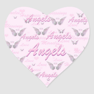 Pink Background with Angel WIngs Heart Sticker