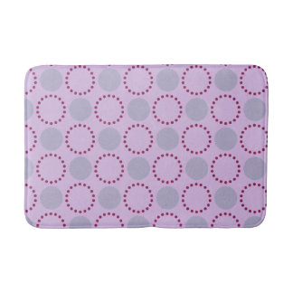 Pink background with red and grey circles bath mat