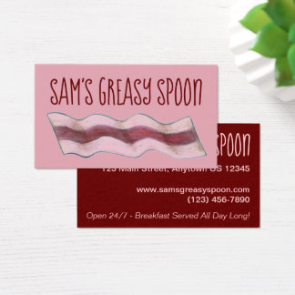 Pink Bacon Slice Restaurant Breakfast Diner Food Business Card