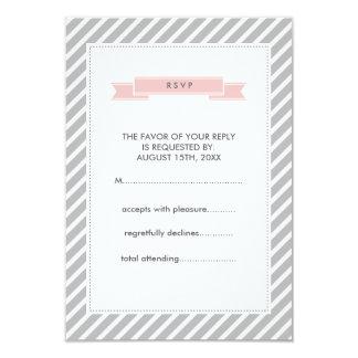Pink Badge Grey Stripes Pattern Wedding RSVP Cards 9 Cm X 13 Cm Invitation Card