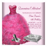 Pink Ball Gown High Heel Shoes Pink Quinceanera Personalized Announcement