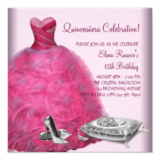 "Pink Ball Gown High Heel Shoes Pink Quinceanera 5.25"" Square Invitation Card"