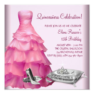 Pink Ball Gown High Heel Shoes Pink Quinceanera 5.25x5.25 Square Paper Invitation Card