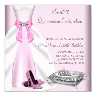 "Pink Ball Gown High Heel Shoes Quinceanera 5.25"" Square Invitation Card"