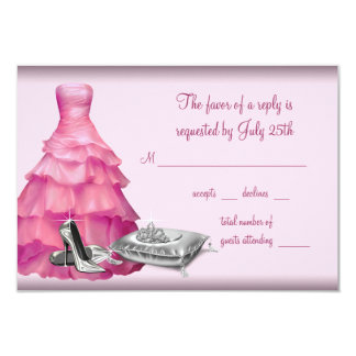 Pink Ball Gown High Heel Shoes Quinceanera RSVP Card