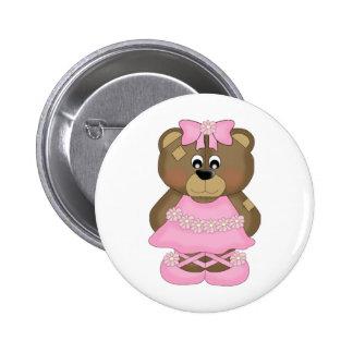Pink Ballerina Bear Button