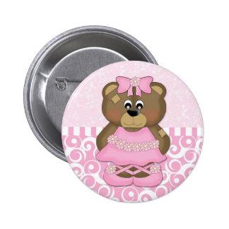 Pink Ballerina Bear Buttons