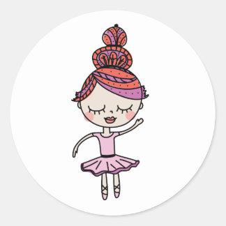Pink Ballerina Classic Round Sticker