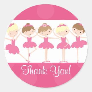 Pink Ballerina Dance Birthday Thank You Sticker