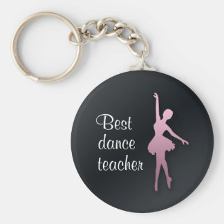 Pink Ballerina on Black Dance Teach Gift Keychain