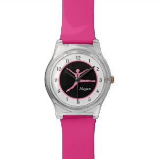 Pink Ballerina on Black Personalized Watch