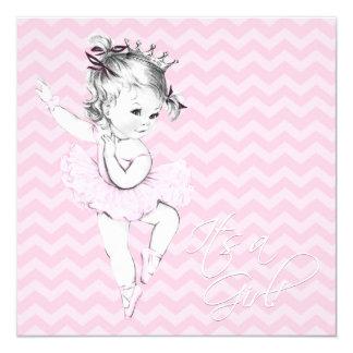 Pink Ballerina Princess Baby Shower 13 Cm X 13 Cm Square Invitation Card