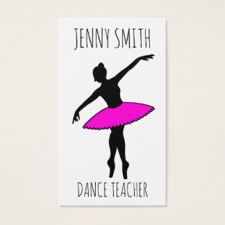 Pink Ballerina Silhouette Ballet Toe Dance Teacher Business Card