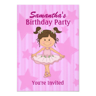 Pink Ballerina Stars and Stripes Birthday Party 5x7 Paper Invitation Card