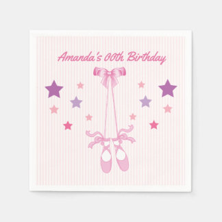 Pink Ballerina themed Birthday Party personalized Disposable Napkin