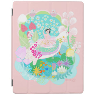 Pink ballerina with birds with muffin  ipad cover. iPad cover