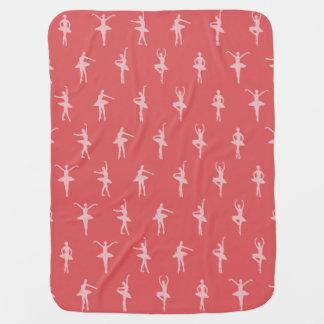 Pink Ballerinas Dancing Pattern Baby Blanket