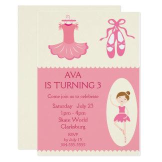 Pink Ballet Dancer Birthday Party 13 Cm X 18 Cm Invitation Card
