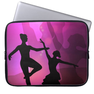 Pink Ballet Dancer Silhouette Laptop Sleeve